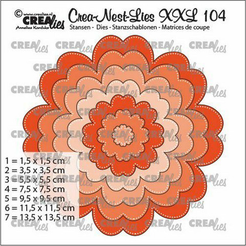 Crealies XXL104 -stanssisetti Flowers With Dots