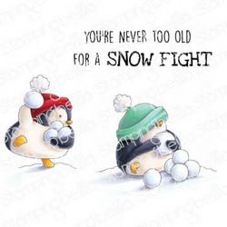 Stamping Bella Snowfight Penguins -leimasinsetti