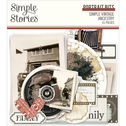 Simple Stories Simple Vintage Ancestry Portrait Bits Die-Cuts, leikekuvat