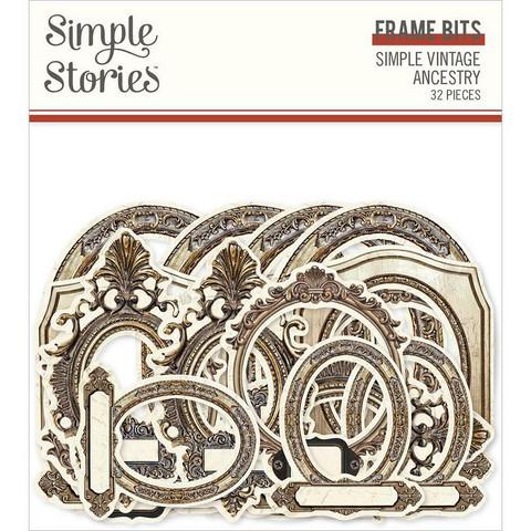 Simple Stories Simple Vintage Ancestry Frame Bits Die-Cuts, leikekuvat