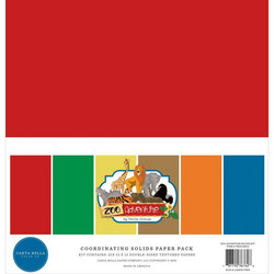 Carta Bella Zoo Adventure, Solids -paperipakkaus, 12