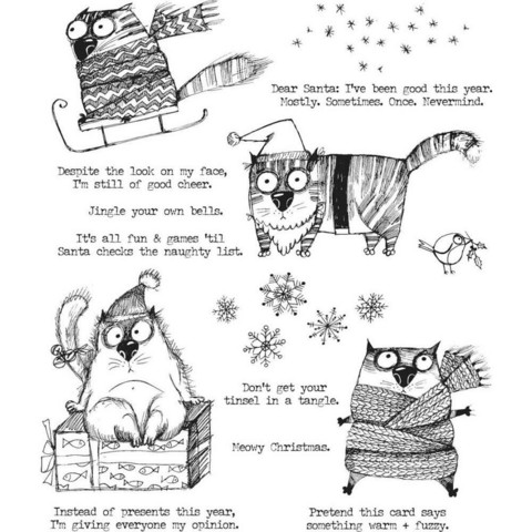 Stampers Anonymous, Tim Holtz leimasinsetti Snarky Cat Christmas