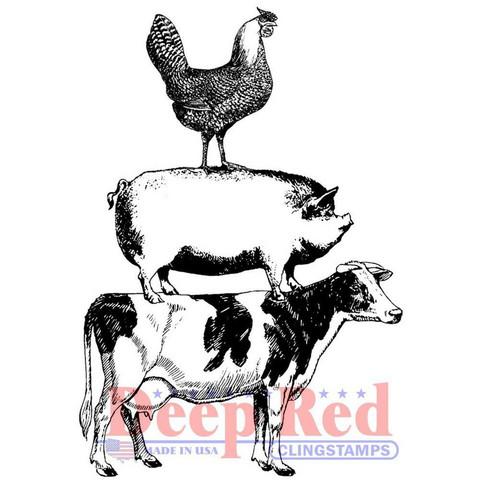 Deep Red leimasin Farm Animal Stack