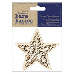 Papermania Bare Basics Wooden Filigree Shapes Star -puukoristeet, 4 kpl