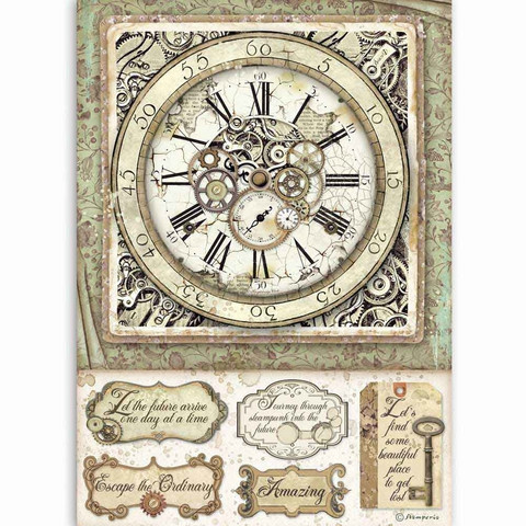 Stamperia riisipaperi Lady Vagabond, Clock with Mechanisms
