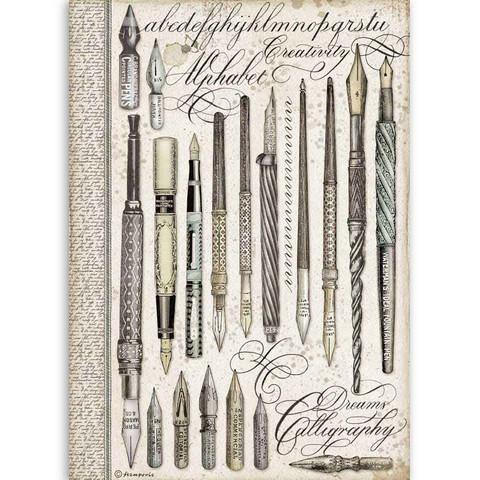 Stamperia riisipaperi Vintage Pens