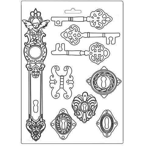 Stamperia Maxi Mould -muotti Lady Vagabond Keys and Locks