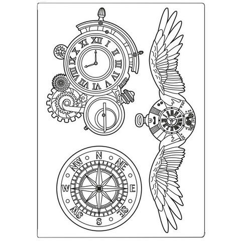 Stamperia Mix Media Mould -muotti Sir Vagabond Clocks and Wings