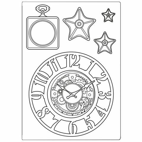 Stamperia Mix Media Mould -muotti Sir Vagabond Clocks and Stars