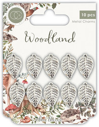 Craft Consortium Woodland -metallikoristeet Silver Leaf