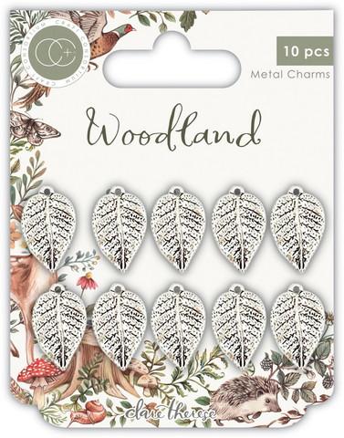 Craft Consortium Woodland -metallikoristeet Silver Leaf