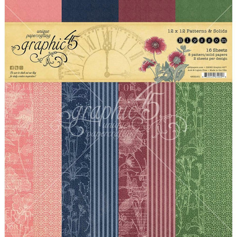 Graphic 45 -paperipakkaus Blossom, Patterns & Solids 12
