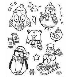 Viva leimasinsetti Little Winter Friends