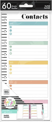 Mambi Happy Planner Classic Half Sheet paperipakkaus, Contacts