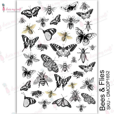 Dress My Craft Transfer Me -arkki, Bees & Flies