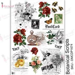 Dress My Craft Transfer Me -arkki, Botanical Scripts