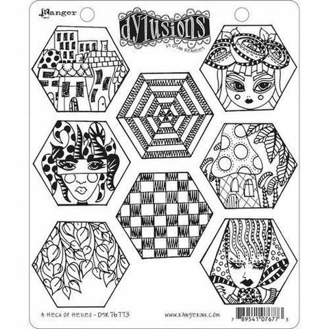 Dylusions leimasinsetti A Heck of Hexies