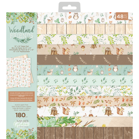 Crafter's Companion Woodland Friends -paperipakkaus, 12
