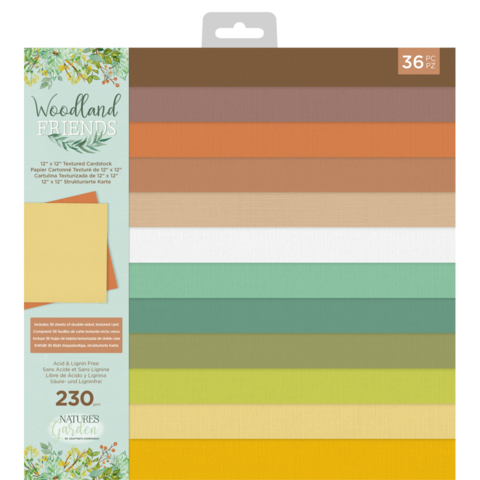 Crafter's Companion Woodland Friends -paperipakkaus Textured, 12