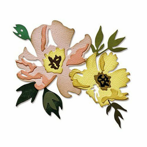 Sizzix Tim Holtz Thinlits stanssisetti Brushstroke Flowers #1