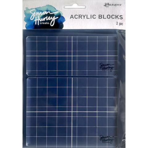 Simon Hurley Acrylic Stamping Block, akryylipohjat, 2 kpl