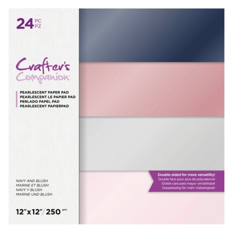 Crafter's Companion Navy and Blush Pearlescent -paperipakkaus, 12