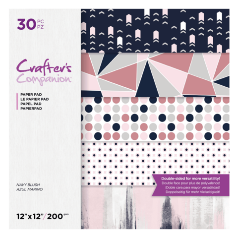 Crafter's Companion Navy Blush -paperipakkaus, 12