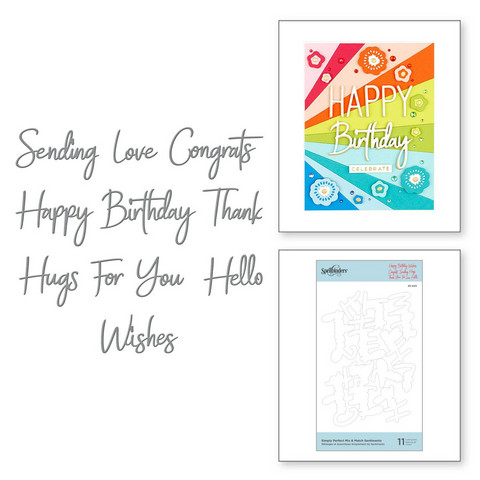 Spellbinders stanssisetti Simply Perfect Mix & Match Sentiments