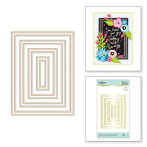 Spellbinders Glimmer Hot Foil -kuviolevy Essential Duo Lines Glimmer Rectangles