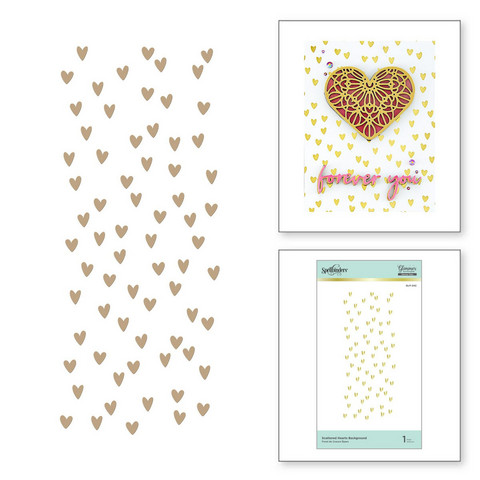 Spellbinders Glimmer Hot Foil -kuviolevy Scattered Hearts Background