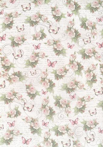 Designkartonki Vintage Ruusut ja Perhoset , 5 arkkia