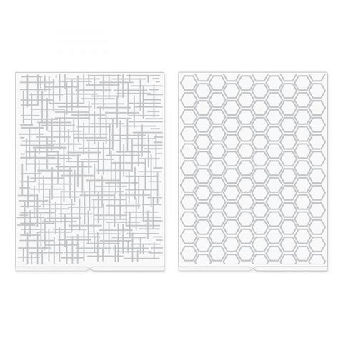 We R Memory Keepers kohokuviointikansiot Woven and Honeycomb, 2 kpl