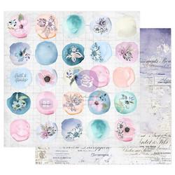 Prima Watercolor Floral -skräppipaperi Watercolor Drops