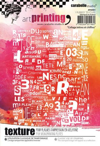 Carabelle Studio tekstuurilevy Collage Lettres Et Chiffres