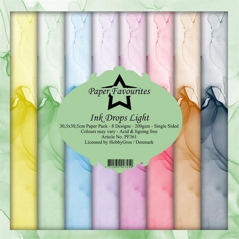 Paper Favourites Ink Drops Light -paperipakkaus, 12