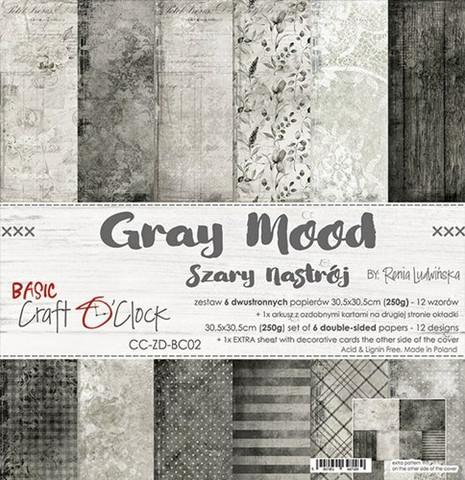 Craft O'clock paperipakkaus Gray Mood, 12