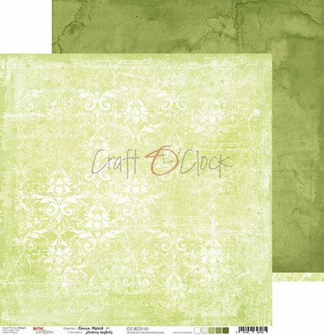 Craft O'clock skräppipaperi Green Mood 01