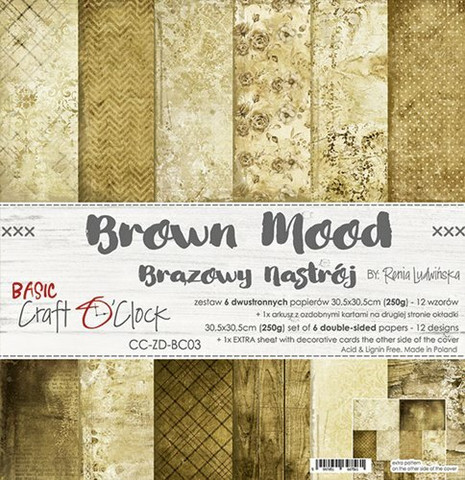 Craft O'clock paperipakkaus Brown Mood, 12