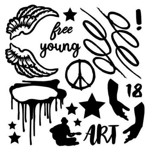 13@rts Chipboard kuvioleike Young and Free