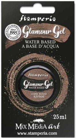 Stamperia Glamour Glitter Gel, sävy Dark Wood