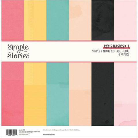 Simple Stories Simple Vintage Cottage Fields, Basics -paperipakkaus, 12