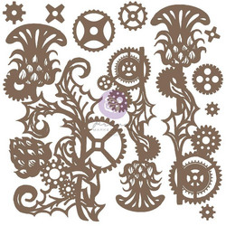 Prima Decorative Chipboard kuvioleike, Mechanical Thistle