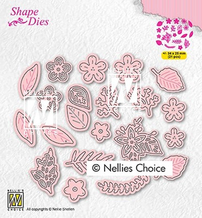 Nellie's Choice stanssi Set of flowers and leaves
