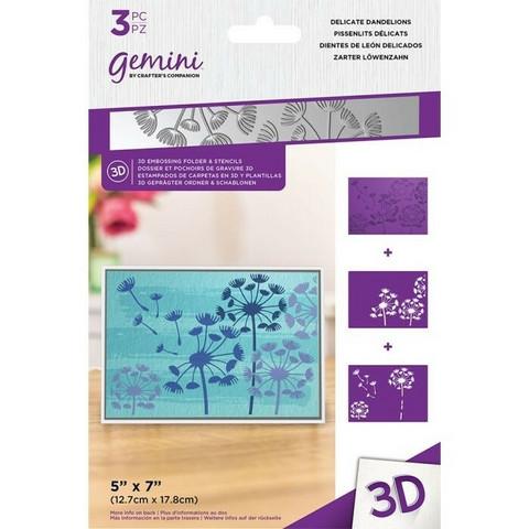 Gemini 3D kohokuviointikansio ja sapluuna Delicate Dandelions