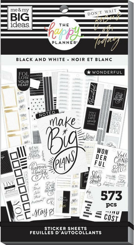 Mambi Happy Planner Value Pack -tarrapakkaus Black & White
