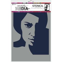 Dina Wakley Media sapluuna Pensive Face, 9