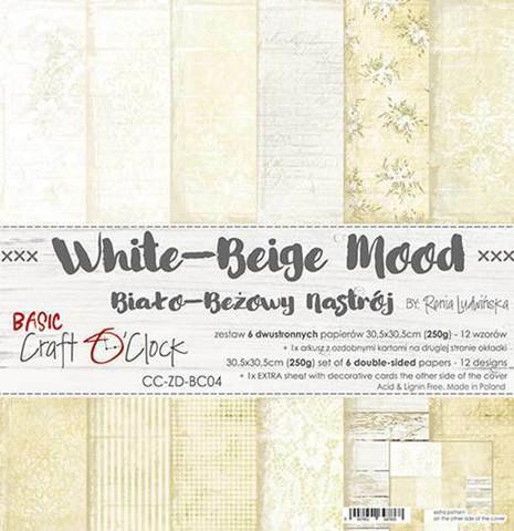 Craft O'clock paperipakkaus White-Beige Mood, 12