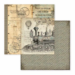 Stamperia Voyages Fantastiques skräppipaperi Train