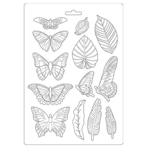 Stamperia Maxi Mould -muotti Amazonia Leaves and Butterflies