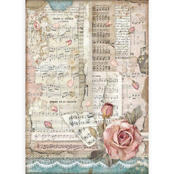 Stamperia riisipaperi Passion, Roses And Music